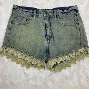 Free People lace trim jean shorts, size 26
